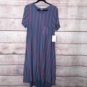 Large Lularoe Carly Dress Blue W/Orange Stripes